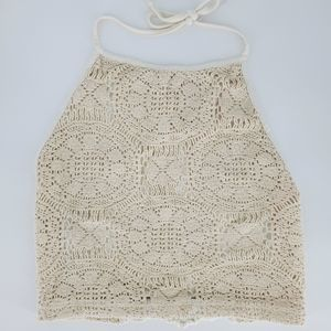 Brandy melville halter lace crop top cream white